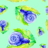 Abstract purple snail on a large green leaf. Watercolor illustration isolated on green background.Seamless pattern vector illustration