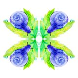 Abstract purple snail on a large green leaf. Watercolor illustration isolated on white background.Seamless pattern vector illustration