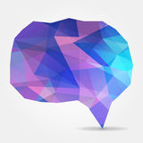 Abstract purple speech bubble with triangular polygons Stock Photography