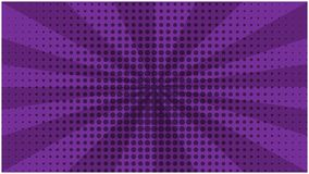 Abstract purple striped retro comic background. With halftone center. Dark cartoon violet background with stripes and half tone pattern for comics book Stock Photos