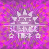 Abstract purple summer time infographic, a big sun with glasses and smile. Digital vector image Royalty Free Stock Photography
