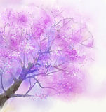 Abstract painting tree with pink flowers vector illustration