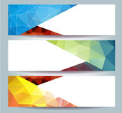 Abstract Purple Triangular Polygonal banners set stock illustration