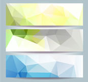 Abstract Purple Triangular Polygonal banners set  Stock Photography