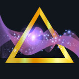 Abstract purple wave in gold triangle. With shine sparkles isolated on dark background Royalty Free Stock Photos