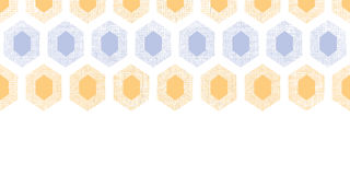 Abstract purple yellow honeycomb fabric textured horizontal seamless pattern background Stock Photos