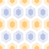 Abstract purple yellow honeycomb fabric textured seamless pattern background Royalty Free Stock Image