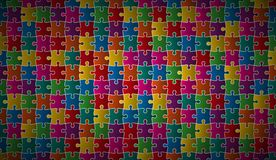 Abstract puzzle background with colorful puzzle pieces. Vector illustration Stock Image