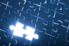 Abstract puzzle background with one missing piece Royalty Free Stock Photos