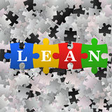 Abstract puzzle background with word Lean. Vector illustration of the blue puzzles with word lean. Lean is modern starategy of improvement productivity Royalty Free Stock Images