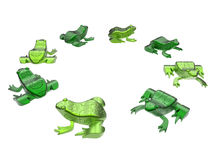 Abstract puzzle frogs. 3D render illustration of multiple abstract puzzle frogs. The composition is isolated on a white background with no shadows Royalty Free Stock Photo