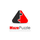 Abstract puzzle logo, unity concept Royalty Free Stock Photo