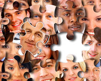 Abstract puzzle-people background Royalty Free Stock Images