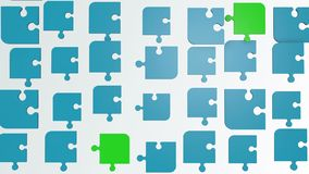 Abstract puzzle pieces in blue and green stock video