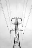 Abstract of pylon. Black and white silhouette of electricity pylon Royalty Free Stock Image