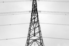 Abstract of pylon 2. Black and white silhouette of an electricity pylon Stock Photography