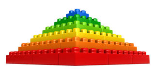 Abstract pyramid from plastic building blocks. 3d render of abstract pyramid from plastic building blocks isolated over white background Royalty Free Stock Image