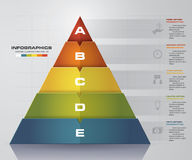Abstract pyramid shape layout with 5 steps order template. EPS10. Stock Image
