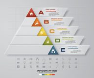Abstract pyramid shape layout with 5 steps order template. EPS10. Stock Photos