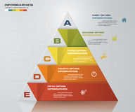 Abstract pyramid shape layout with 5 steps order template. Royalty Free Stock Photos