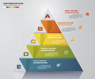 Abstract pyramid shape layout with 5 steps order template. Royalty Free Stock Photography