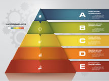 Abstract pyramid shape layout with 5 steps order template/graphic or website layout. Royalty Free Stock Photos