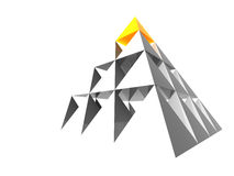 Abstract pyramid with yellow Stock Photography