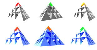 Abstract pyramids with color top Stock Image