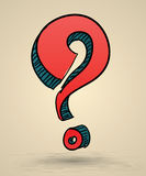 Abstract question mark sketch vector Illustration. Royalty Free Stock Photos