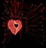 Abstract radiaal licht het schilderen hart Stock Afbeeldingen