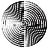 Abstract radial, concentric circles, rings. Monochrome visual element on white. - Royalty free vector illustration Royalty Free Stock Photography