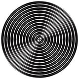Abstract radial, concentric circles, rings. Monochrome visual element on white. - Royalty free vector illustration Royalty Free Stock Photos