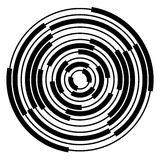 Abstract radial, concentric circles, rings. Monochrome visual element on white. - Royalty free vector illustration Royalty Free Stock Photo