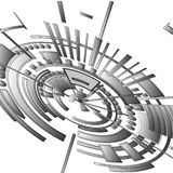 Abstract radial 3 D background composed of geometric shapes. stock illustration