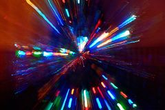 Abstract radial light painting. Radial light painting of a Christmas tree. Long exposure at night royalty free stock photo