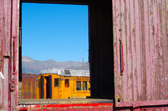 Abstract Rail Cars. Heber Mountain Railroad Old Cars Stock Photo