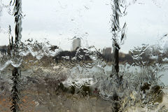 Abstract Rain Water on Glass Window Background Concept stock image