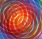 Abstract rainbow acrylic and watercolor circle painted backgroun Stock Photo
