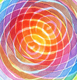 Abstract rainbow acrylic and watercolor circle painting Royalty Free Stock Photo