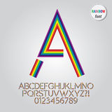 Abstract Rainbow Alphabet and Digit Vector Stock Photo