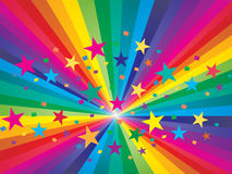 Abstract rainbow background. Abstract rainbow and stars background vector illustration