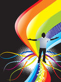 Abstract rainbow background. Abstract rainbow wave background with standing pose of young boy vector illustrator Vector Illustration