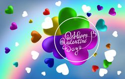 Abstract rainbow background from hearts. I love you . Vector illustration Stock Illustration