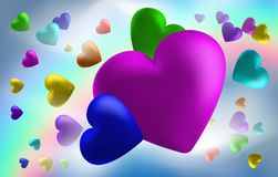 Abstract rainbow background from hearts. I love you . Vector illustration Vector Illustration