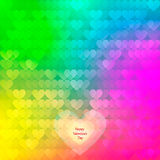 Abstract rainbow background from hearts. Stock Images