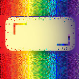Abstract rainbow background with label. Abstract rainbow background made of squares with label Royalty Free Stock Photography