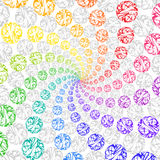 Abstract Rainbow Background Rotating Spiral of Spheres. Stock Image