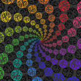 Abstract Rainbow Background Rotating Spiral of Spheres. Royalty Free Stock Photo