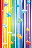 An abstract rainbow background with stars. Royalty Free Stock Images