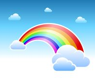 Abstract rainbow and clouds symbol Royalty Free Stock Photos